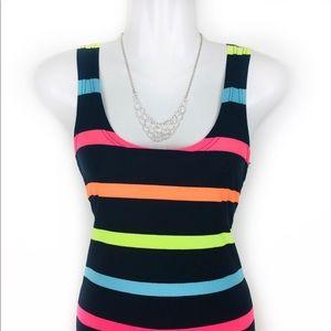 Dresses & Skirts - Multicolored Stripe Round Neck Sleeveless Bodycon